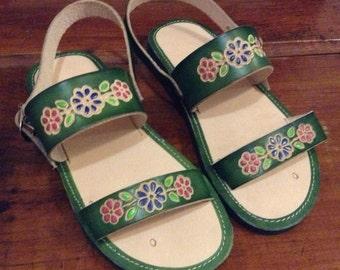 Children's Leather Mexican Shoes- Flip Flops-Sandals-Hippie-BOHO- Handmade Sandals- Flowers- Green