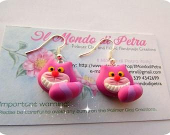 Original Handmade Chesire Cat  Earrings polymer Clay Alice in Wonderland