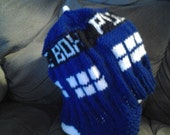 "TARDIS ""Police Box"" hat for Doctor Who fans. Knit earflap hat (can also be made as a beanie without earflaps)"