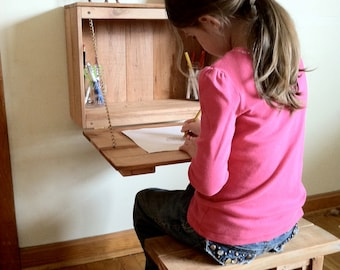 Kid's Fold Down Desk for homeschool, bedroom, or classroom built from reclaimed wood