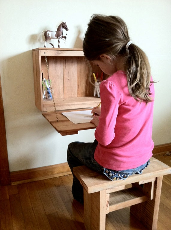 Kid s Fold Down Desk for homeschool bedroom by