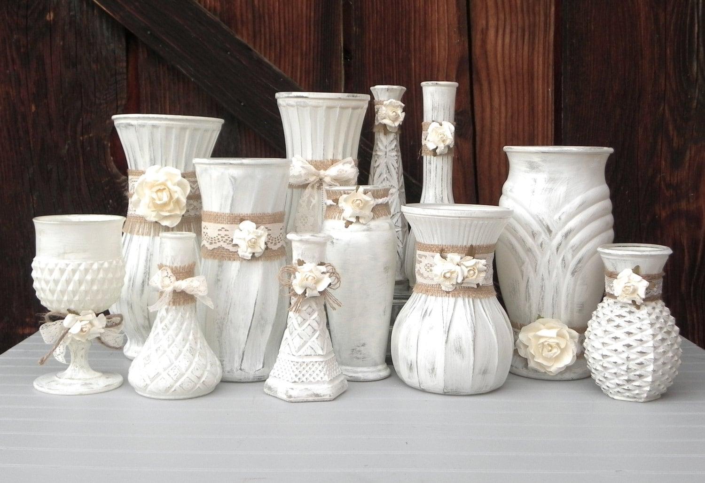 Vase Wedding Decoration Ideas: Shabby Chic Burlap And Lace Cream White Vase By SoFrickinCute