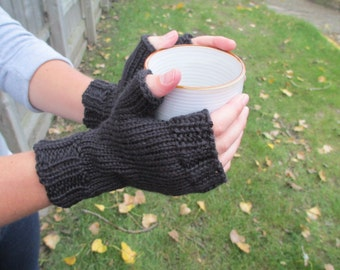 Black Fingerless Mittens