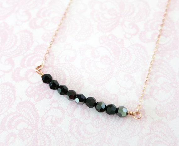 Simple Jet Hematite Bead on Rose Gold necklace - rose gold filled, strand of Swarovski Beads, Jet Hematite, black beads bridesmaid gifts