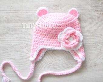 Teddy Bear Hat, Earflap Pink Baby Crochet Bear Hat, Flower Earflap Bear Hat, Hat with Ears, Animal Hat, Animal Baby Hat, Infant Hats