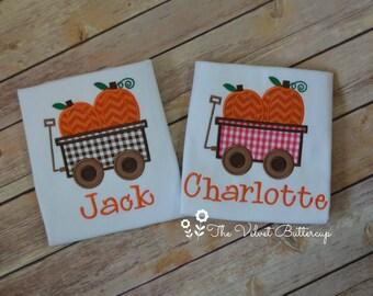 Fall Shirt - Pumpkin Shirt - Monogram Fall Shirt - Monogram Shirt - Hay Ride Shirt - Pumpkin Wagon Shirt