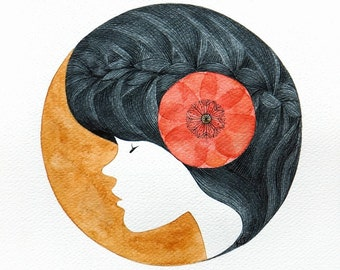 Print watercolor painting Girl portrait watercolor painting, circle illustration, poppy flower by VApinx