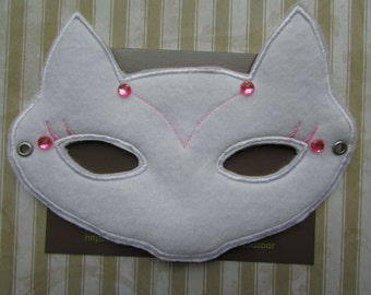 Cat Mask, White Cat Mask, Kids Mask, Cat Halloween Mask