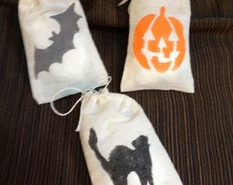 Set of 12 Hand Stenciled Halloween Variety Muslin Favor Bags