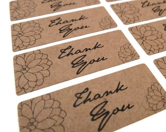Thank You Stickers - Kraft Stickers - 45 Count - Kraft Labels - 1.75 in x 0.75 in. - Product Sticker - Wedding Favor Sticker
