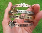 Military Mom Bracelet, Army Mom, Navy Mom, Coastie Mom, Airforce Mom, Marine Mom,  Hand Stamp Service Cuff