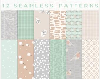 Birds of a Feather - JPG files - Seamless Patterns - Digital Scrapbook - Paper Pack