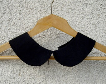 Peter Pan Detachable Black Collar  Necklace , Hand Made Cotton Collar