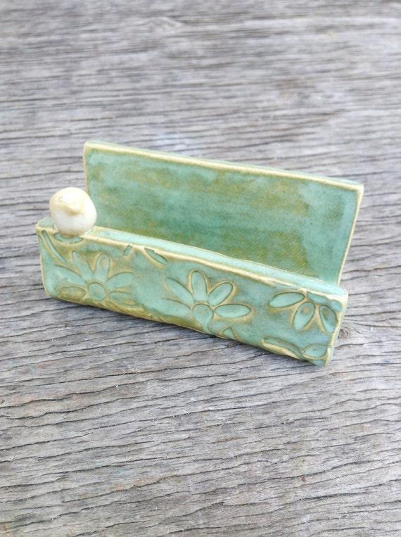 Handmade ceramic business card holder flowered texture for Ceramic business card holder