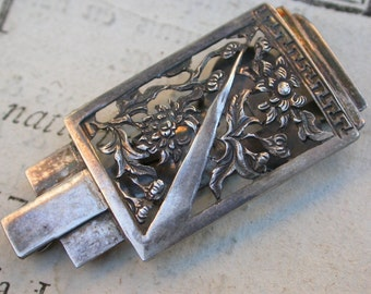 French antique Silver  brooch filigree flower ornate art deco pin collar pin pocket pin
