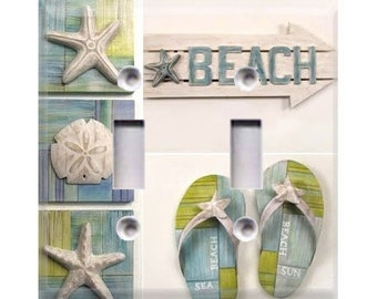 Beach Sandals Double Light Switch Cover