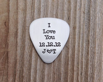 Guitar Pick hand stamped guitar pick  22 guage gift for him or her I love you