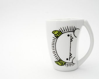 husband gift  boyfriend gift Silly monster with green horns espresso cup and saucer, peekaboo monster cup, espresso cup and saucer