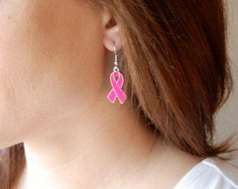 Pink Breast Cancer Awareness Ribbon Earrings