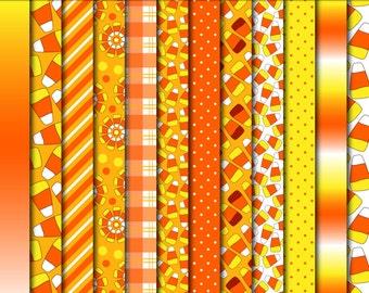 candy corn scrapbook paper digital scrapbook supplies, candy corn pattern printables, commercial use, DIGITAL DOWNLOAD DP-209