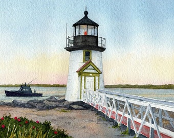 Brant Point Lighthouse. Peaceful sunrise & fishing boat at Nantucket Harbor, MA. Matted art prints, 5x7 notecards of original watercolor.
