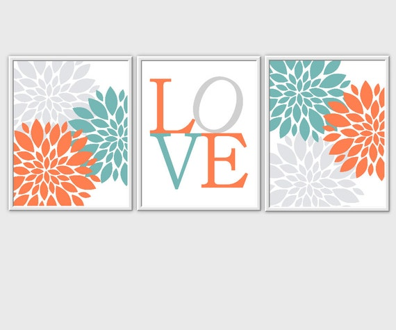 Teal Flower Wall Decor : Baby nursery wall art coral teal flower by