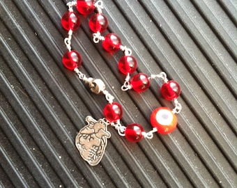 Zombie Bracelet Blood Red Glass Anatomical Heart Charm Eyeball Skull