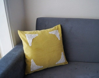 PILLOW / Mustard  Pillow Cover, Lace Throw Pillow, Pillow Cover Case