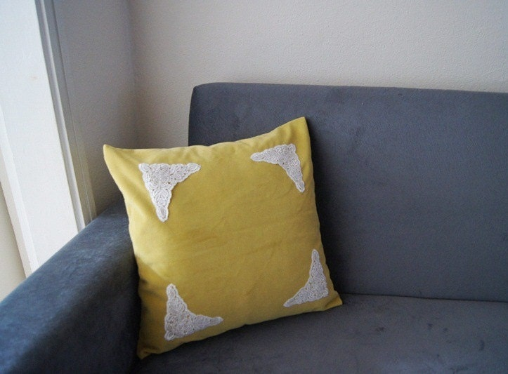 Lace Throw Pillow Covers : PILLOW / Mustard Pillow Cover Lace Throw Pillow Pillow