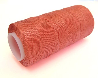 Fine Crochet Thread - Non-waxed Nylon Cord - SALMON - Spool of 300 Yards