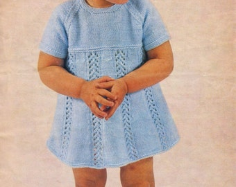 Knitting Patterns For Baby Fancy Dress : Vintage Baby Knitting Pattern - Girls Knitted Dress - AM019