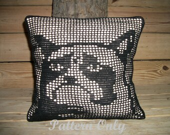 Filet Crochet Grumpy Cat Pillow Pattern