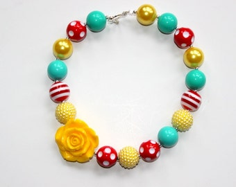 Girls bubblegum necklace in red aqua yellow chunky beads. Poppy beaded necklace for birthday party, Christmas present or back to school.