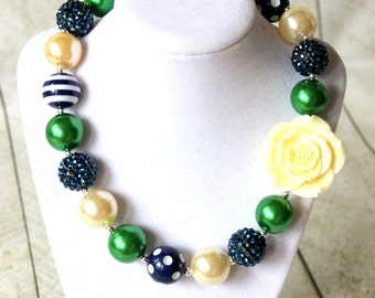 Chunky bead bubblegum necklace for girls. Flower girl navy blue emerald green cream pearl rhinestone necklace. Christmas birthday necklace
