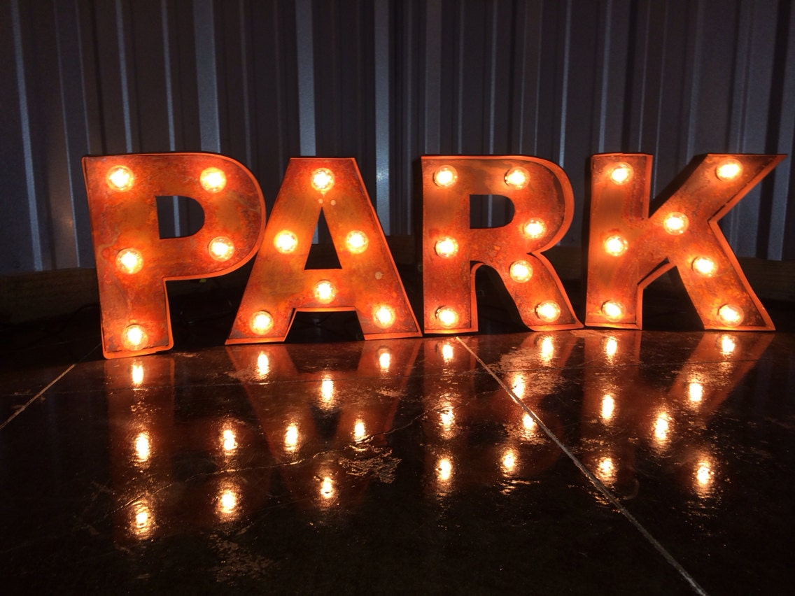 black iron vintage rustic marquee channel lighted letters With black marquee letters with lights