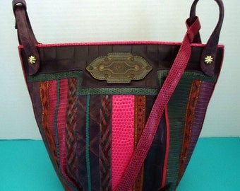 Vintage Sharif Cross-Body Leather Bag, Large Bucket Style, Multi-Color, Cowgirl Chic