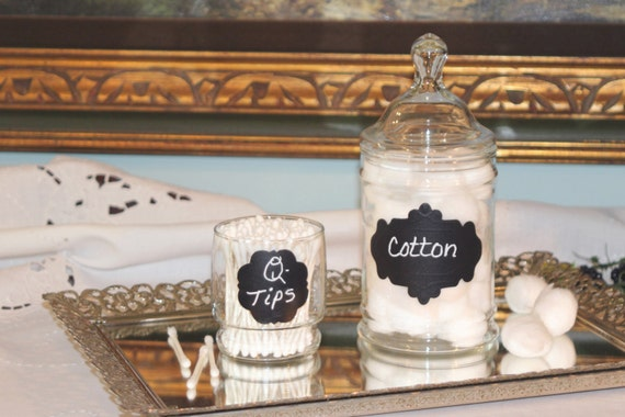 Glass Apothecary Jar   Cotton Ball Jar   Q Tip Jar   Set of Bathroom. Glass Apothecary Jar Cotton Ball Jar Q Tip Jar Set of