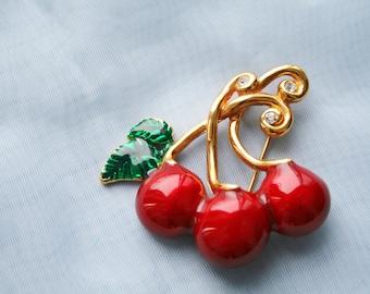 Vintage Cherry Brooch / Pin by Saxon - Enamel, Rhinestones