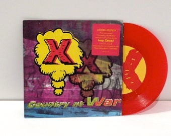 X Band Colored Vinyl Vintage Single Exene Cervenka John Doe Country at War from Hey Zeus 45rpm Record picture sleeve 1993 Punk Rock