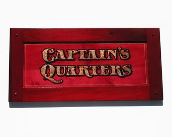 Captain's Quarters wood and metal leaf decor sign