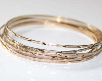 7 days Diamond-Cut Bangle Bracelet 14k tri-color gold - 8.25 inch long - sku 5680