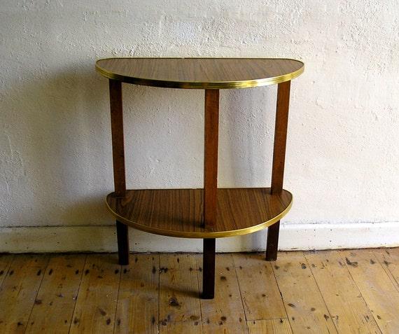 60 Mid Century Modern Vintage Half Moon Coffee Table: Mid Century Console Table Half Moon Hall Telephone 1960s Wood