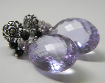 SALE. earrings. violet kunzite. black spinel. amethyst. seed pearl.
