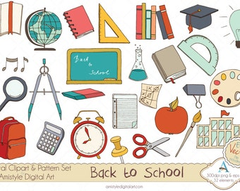 Hand Drawn Back to School Clipart EPS Vector Art Set  for Banners, FB Covers, Cards, Backgrounds,Scrapbooking and Webdesign-2014/31