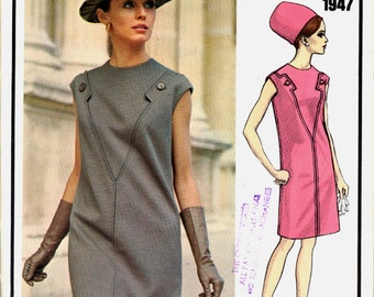 New 1960s Molyneux Dress Vogue Paris Original 1947 Bust 34 Vintage Sewing Pattern