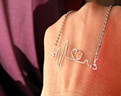 Heartbeat with Heart and a Stainless Steel Chain Necklace. Great for Doctor's, Nurses, and Fitness Careers.