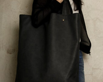 Mega Shopper bag graphite dark grey blazed tote bag shoulder oversized extra large school laptop market everyday vegan faux leather pockets