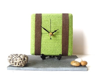 Wool Desk Clock / Small Wall Clock Lime Green and Brown Chocolate Yarn