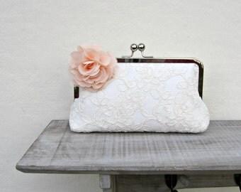Lace bridal clutch bag, ivory wedding clutch with peach flower, peach bridesmaid clutch, peach floral clutch, uk clutch, bobbie massey