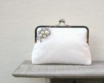 Ivory bridal clutch, ivory wedding clutch, pearl and rhinestone silk clutch, handwoven silk clutch, clutch purse, custom clutch, uk seller